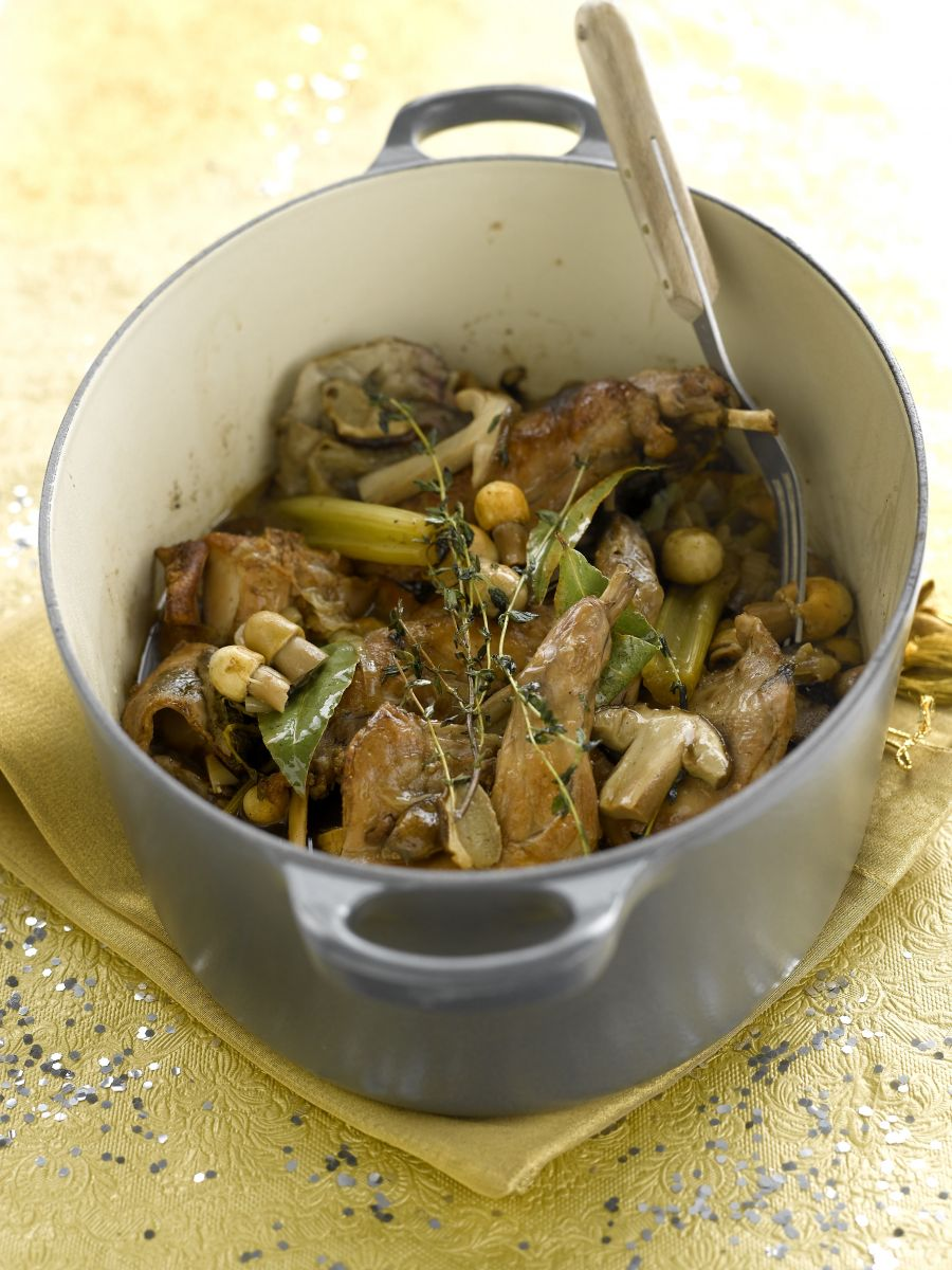 Konijn met paddenstoelen