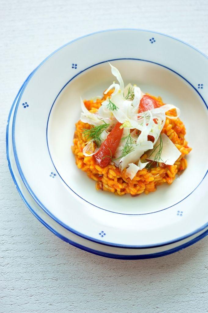 Tomatenrisotto met venkel en saffraan