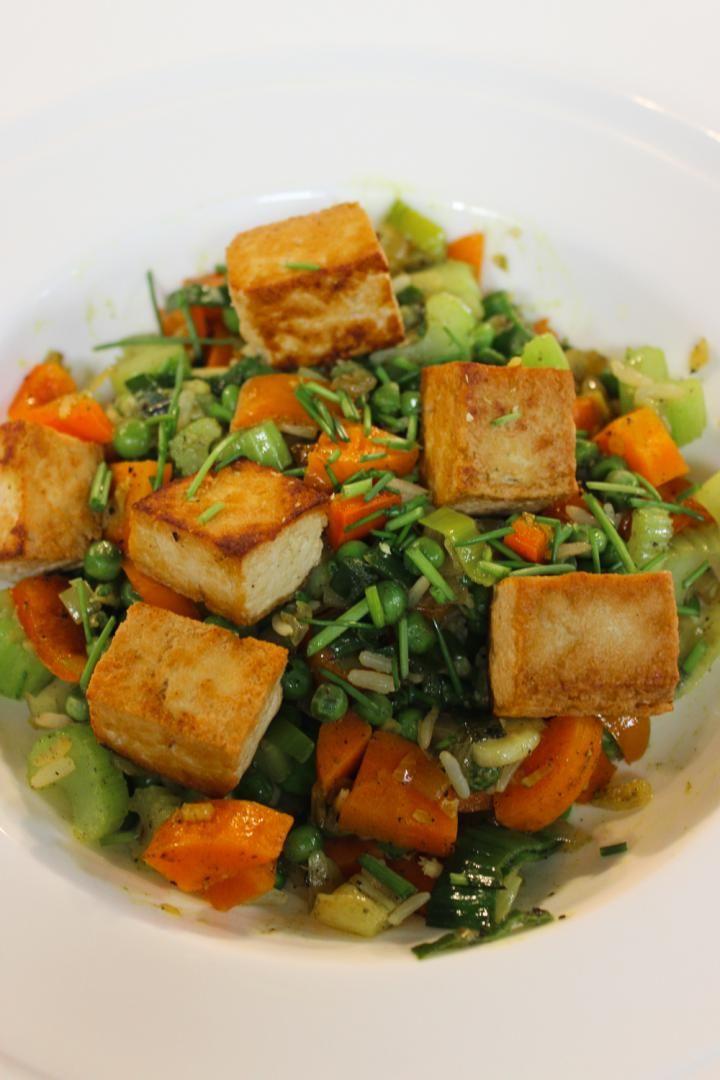 Rijstschotel met tofu en gember