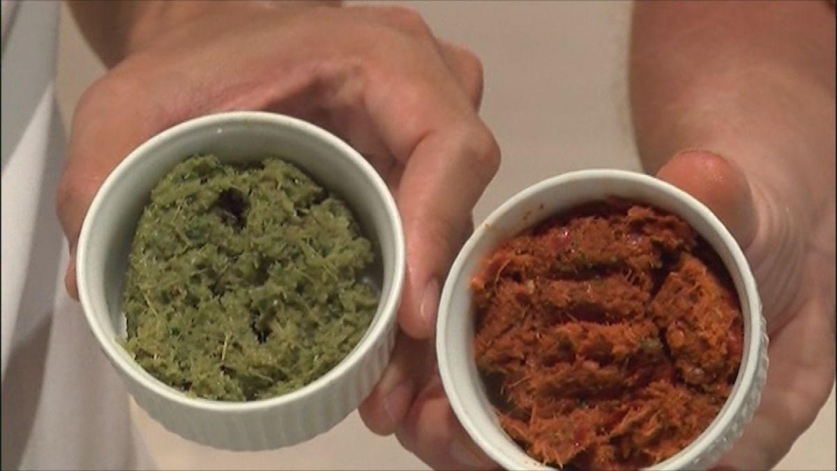 Rode en groene currypasta