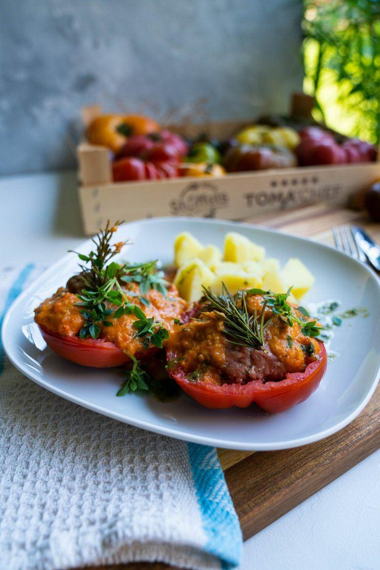 Gevulde tomaten met aardappelen