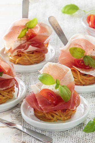 Spaghetti nestjes met parmaham