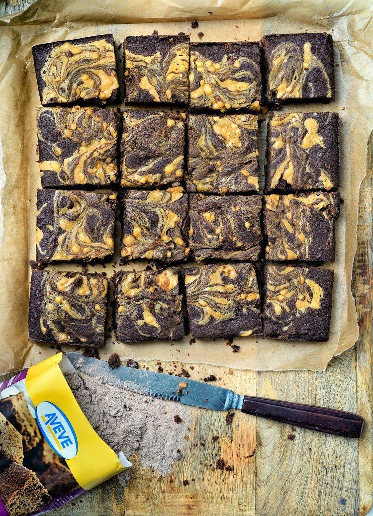 Brownie met banaan en pindakaas