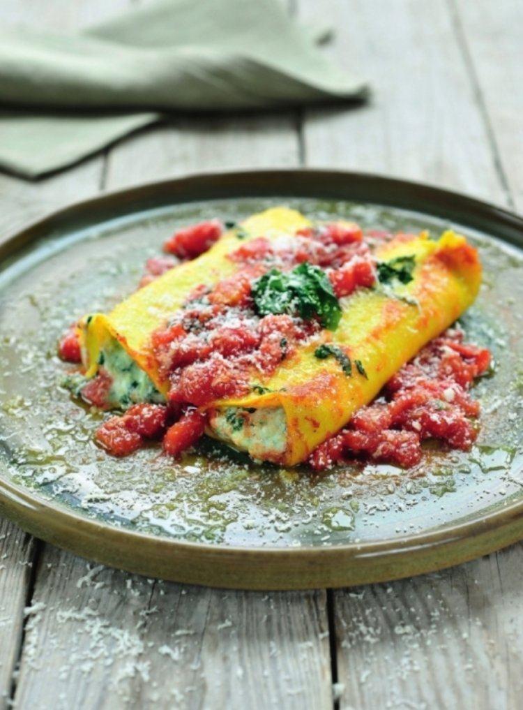 Cannelloni gevuld met ricotta en spinazie