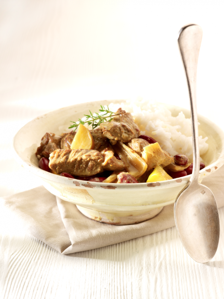 Lamsragout met curry en rijst