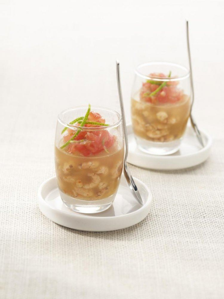 Gelei met garnalen, tomaat en limoen