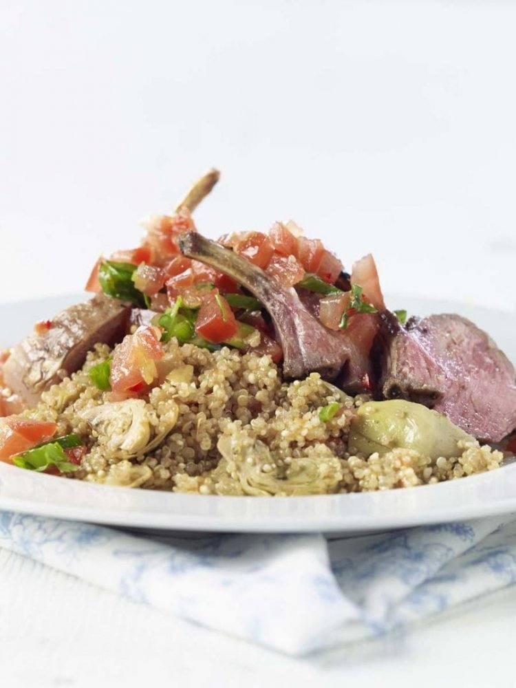 Lamsmanchette met quinoa en tomatensalsa