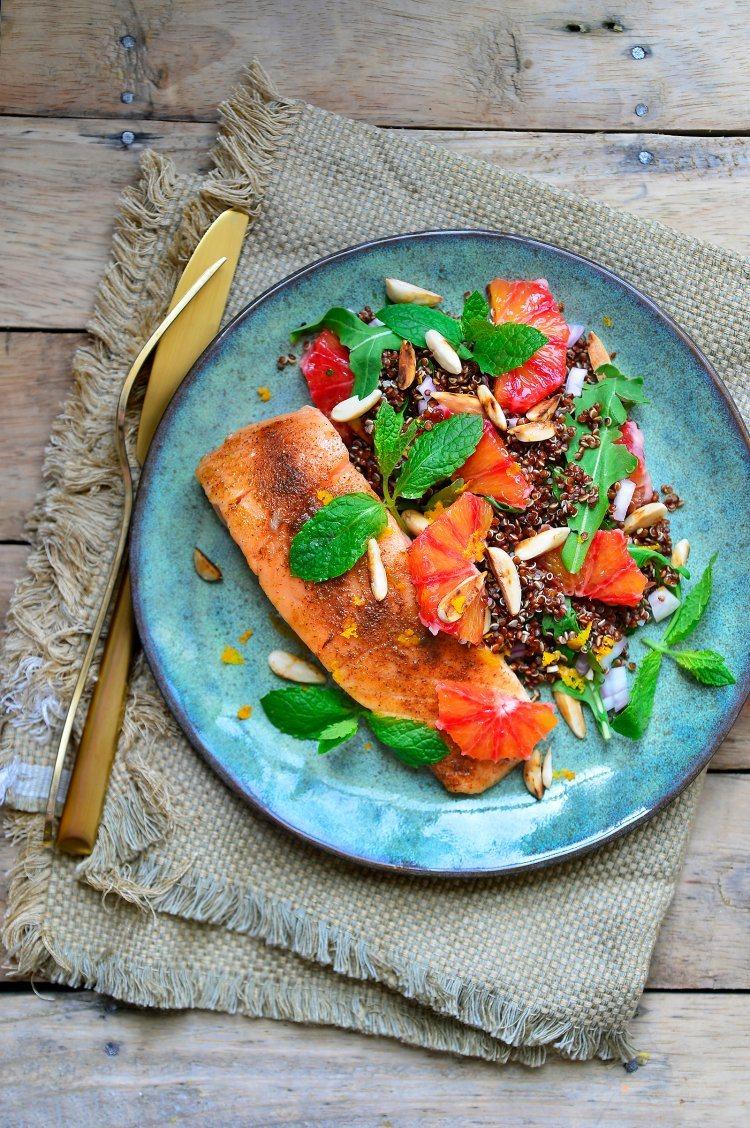 Rode quinoa met oosterse zalm
