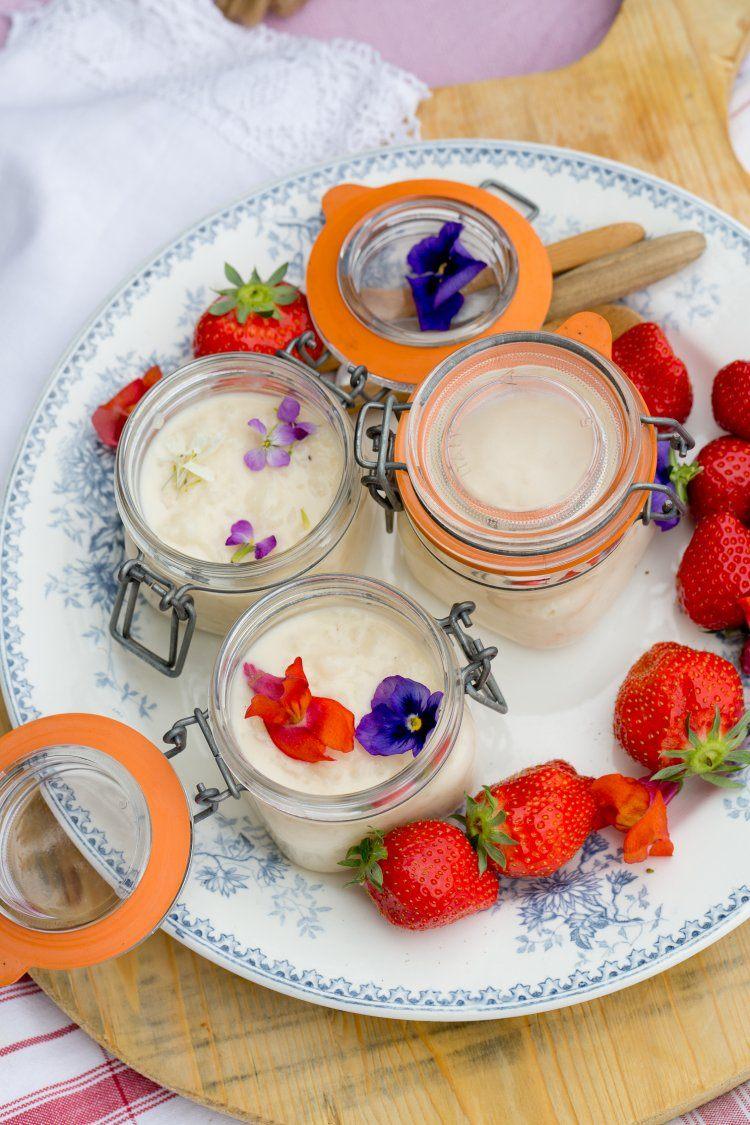 Rijstpap met aardbeien