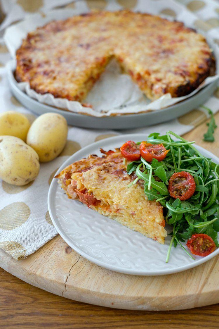 Aardappeltaart met spek en zongedroogde tomaatjes