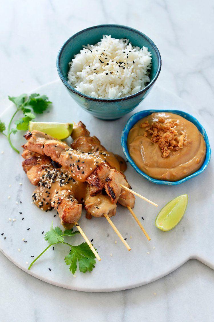 Kipsaté met pindasaus en rijst